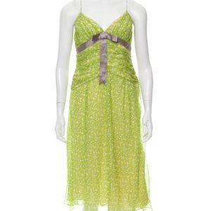 NWT Lela Rose Green Printed Silk Polkadot Dress